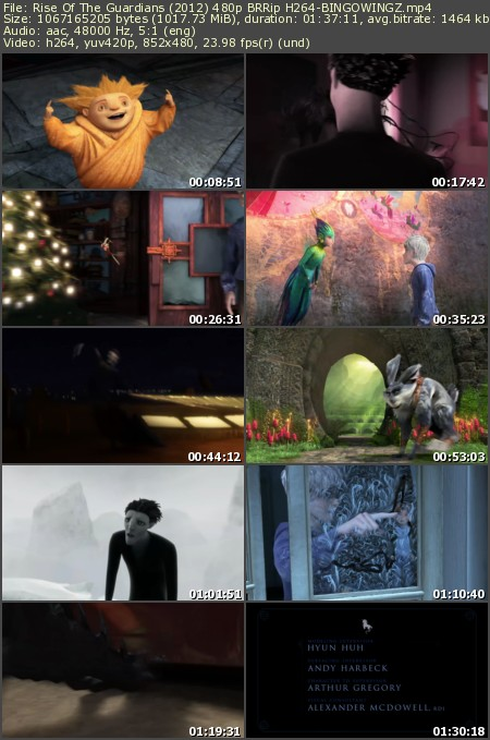 Rise Of The Guardians (2012) 480p BRRip H264-BINGOWINGZ