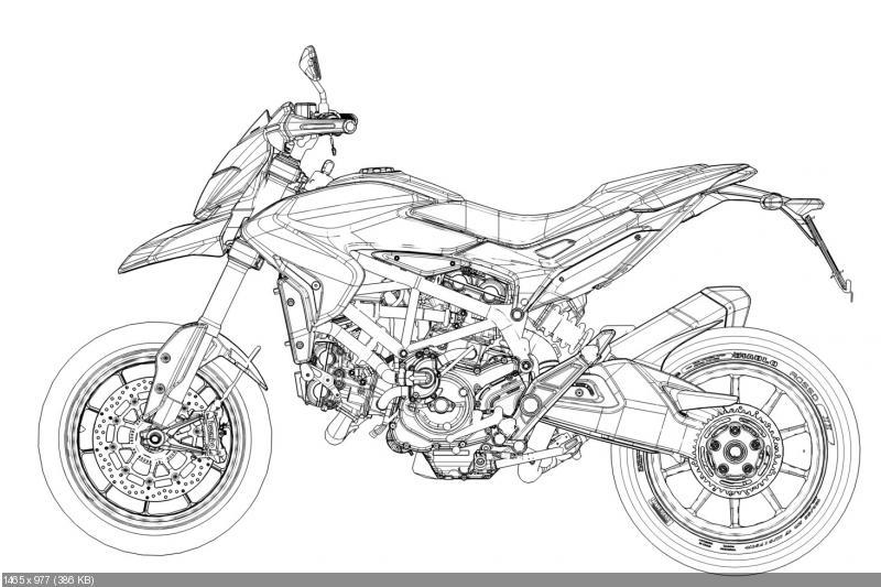 Мотоцикл Ducati Hypermotard 2013: CAD, детали, эскизы, рендеры